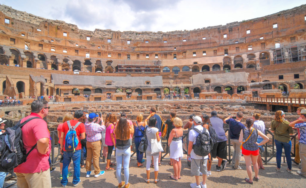 Colosseum Priority Entrance + Arena Floor, Roman Forum and Palatine Hill - Tourists visit the Roman vestiges inside the Colosseum, major touristic attraction in Rome, Italy.JPG