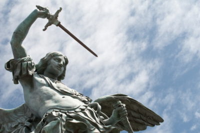 Rome Angels and Demons Guided Half-Day Tour - Detail of the Saint Michael statue on the top of Castel Sant`Angelo in Rome.JPG