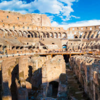 Colosseum and Ancient Rome Walking Tour -  Panorama of inside part of Colosseum in Rome, Italy.JPG