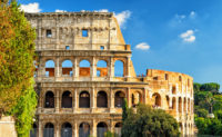 Colosseum Entrance with Audio Guide, Roman Forum and Palatine Hill - Roman Coliseum is one of the main travel attractions of Rome. Colosseum is the largest amphitheatre ever built. Historical architecture of central Rome..JPG