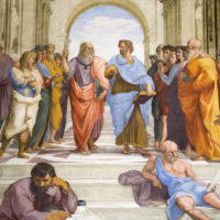 Vatican Museum, Sistine Chapel and St.Peter's Guided Tour - Raphael, detail of Plato and Aristotle in center, School of Athens, 1509-1511, fresco (Stanza della Segnatura, Palazzi Pontifici, Vatican).JPG