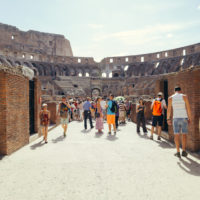 Colosseum and Ancient Rome Walking Tour- Tourist visit the interior of the Colosseum. Colosseum is famous landmark.JPG