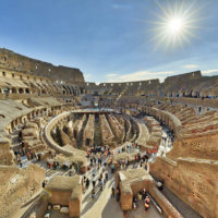 Colosseum and Ancient Rome Walking Tour- The Colosseum is seen from inside on October 31, 2017 in Rome, Italy. Rome is one of the most popular tourist destinations in the World..JPG