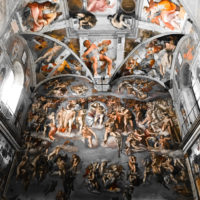 Early Entry Vatican Museums and Small-Group Tour with St. Peter's and Sistine Chapel - the Last Judgment and the ceiling of the Sistine chapel in the Vatican Museum.JPG