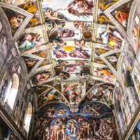 Vatican Museums and Sistine Chapel Fast -Track Entry - painting of the Last Judgment and Ceiling of the Sistine chapel in the Vatican Museum.JPG