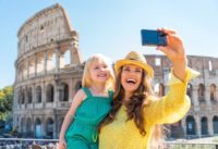 Colosseum Entrance with Audio Guide, Roman Forum and Palatine Hill - Happy mother and baby girl making selfie in front of colosseum in rome, italy.JPG