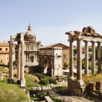 Colosseum & Roman Forum and Palatine Package - View of the roman ruins in Rome, Italy. - Temple of Saturn.JPG