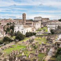 Colosseum Express Guided Tour - Roman Forum southeast side, view from Palatine hill, Rome, Italy. In the background the Coliseum..JPG