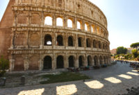 Colosseum Entrance with Audio Guide, Roman Forum and Palatine Hill - Colosseum in Rome, Italy. The biggest amphitheater of Ancient Rome..JPG