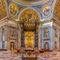 Saint Peter Basilica Self-Guided Tour - Bernini's Baldacchino Altar and ornate frescoes in the Saint Peter's Basilica in Vatican City.JPG