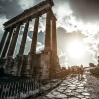 Colosseum and Ancient Rome Walking Tour - Temple of Saturn -Roman Forum in Rome, Italy.JPG