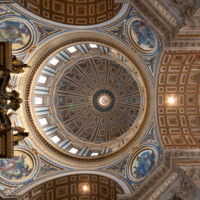 Saint Peter Basilica Self-Guided Tour - View at the ceil and cupola of the St' Peter's Basilica in Vatican.JPG
