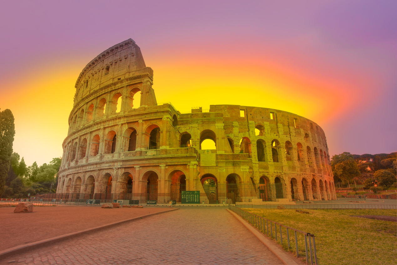 Amazing sunrise at Rome Colosseum (Roma Coliseum), Rome, Italy