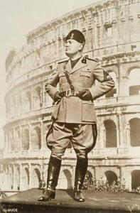 Benito Mussolini in front of the Colosseum.