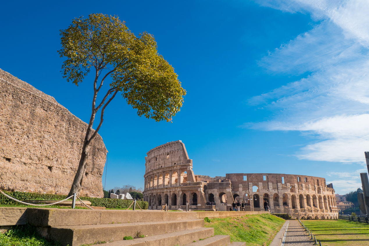 Colosseum as seen from the Palatine Hill in Rome, Italy