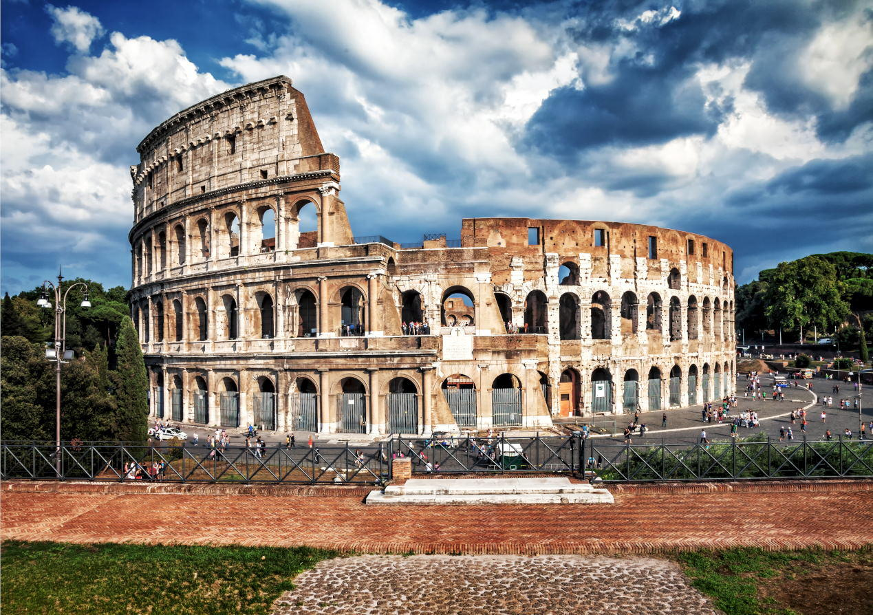 Colosseum, the elliptical amphitheater in the centre of the city of Rome