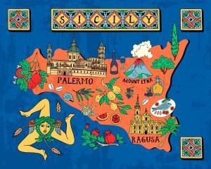 Illustrated map of the Italian island of Sicily.