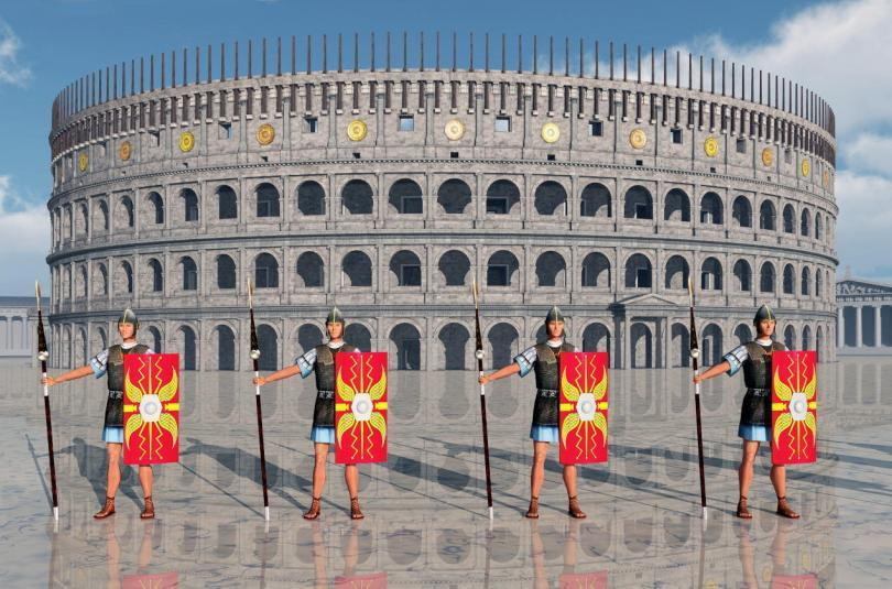 Legionaries and Colosseum in ancient Rome Computer generated 3D illustration