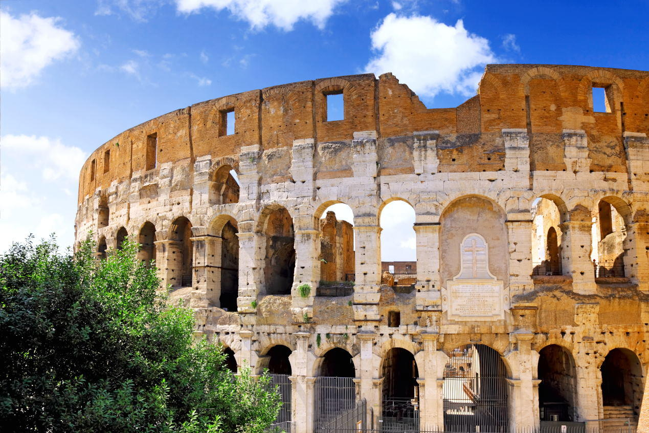 The Colosseum, the world famous landmark in Rome, Italy--