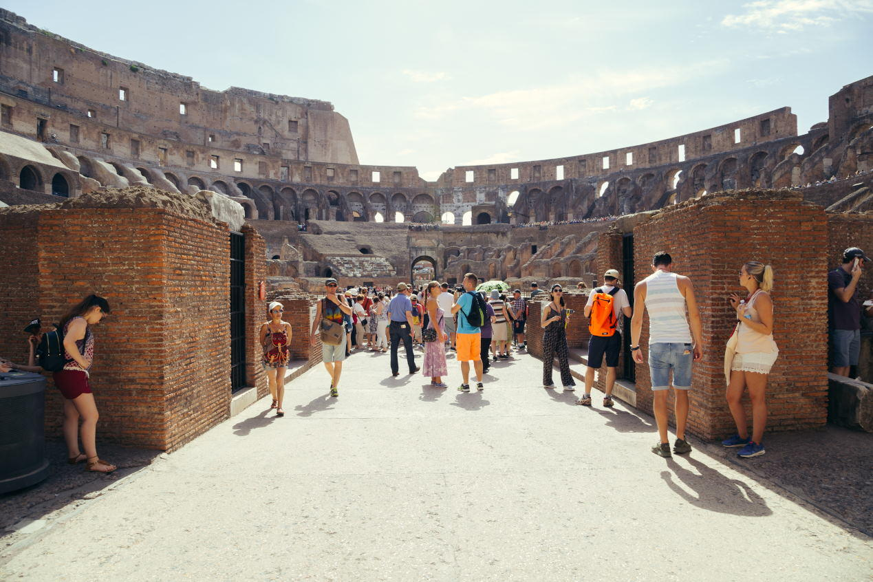 Tourist visit the interior of the Colosseum. Colosseum is famous landmark
