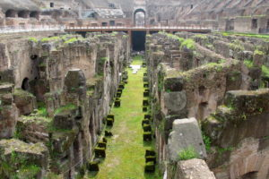 Underground of the Colosseum, the oval amphitheater used for gladiatorial contests and battles
