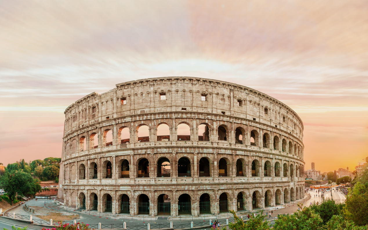 View on colosseum at sunset time.