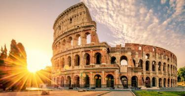 Who is Colosseum's Architect -Colosseum in Rome at sunrise, Italy, Europe.