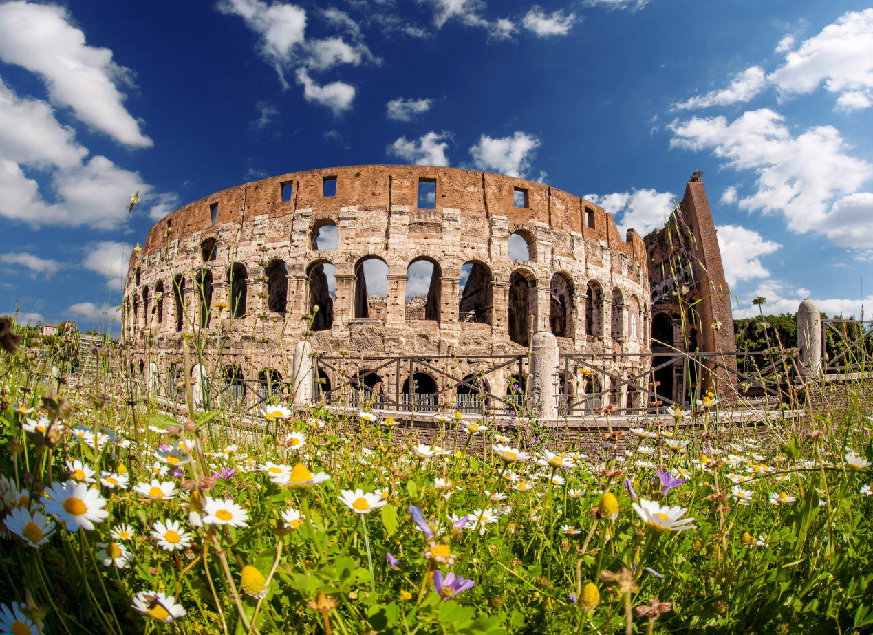 Who is the Colosseum's Architect - Colosseum during spring time, Rome, Italy