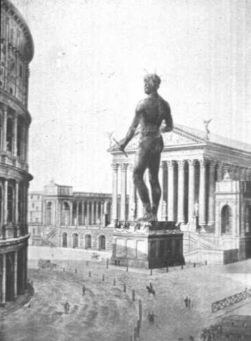 A drawing of the Colossus of Nero standing next to the Colosseum.