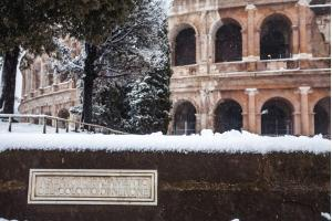 Base of the Colossus of Nero - Colosseum under snow.