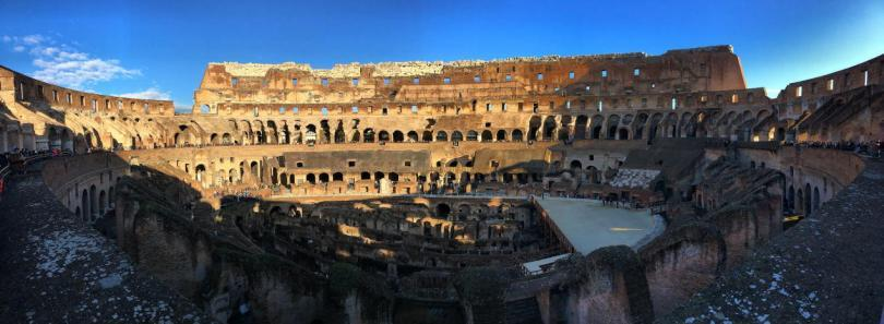 A panaromic view inside the Colosseum