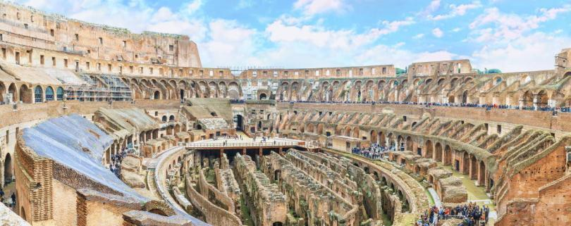 Aerial panoramic view inside the Great Roman Colosseum
