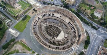 Aerial shot of the Colosseum in Rome, Italy (2)