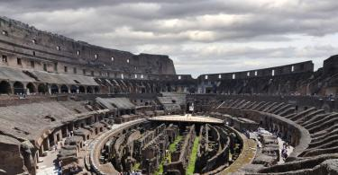 Arena and underground levels at the Colosseum in Rome.