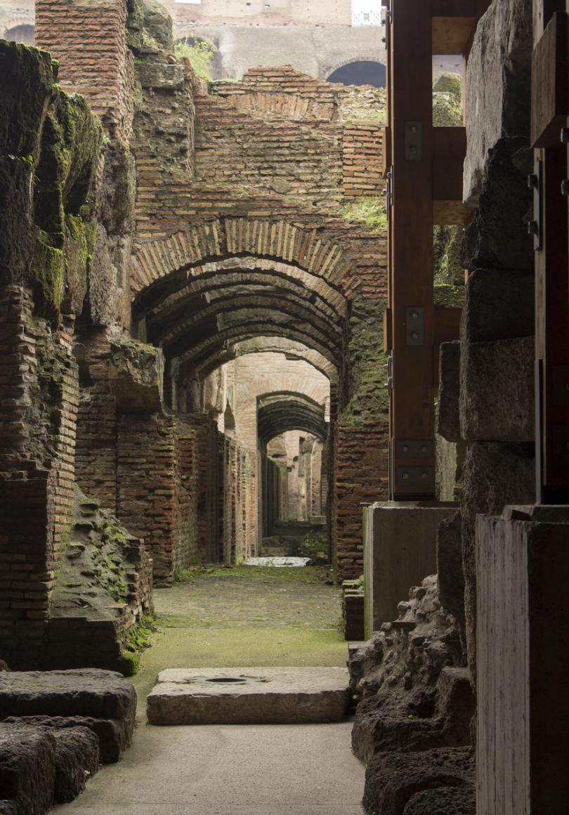 Coliseum's underground in Rome. Where the gladiators were expecting to fight