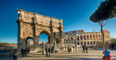 Colosseum and the Arch of Constantine in Rome, Italy