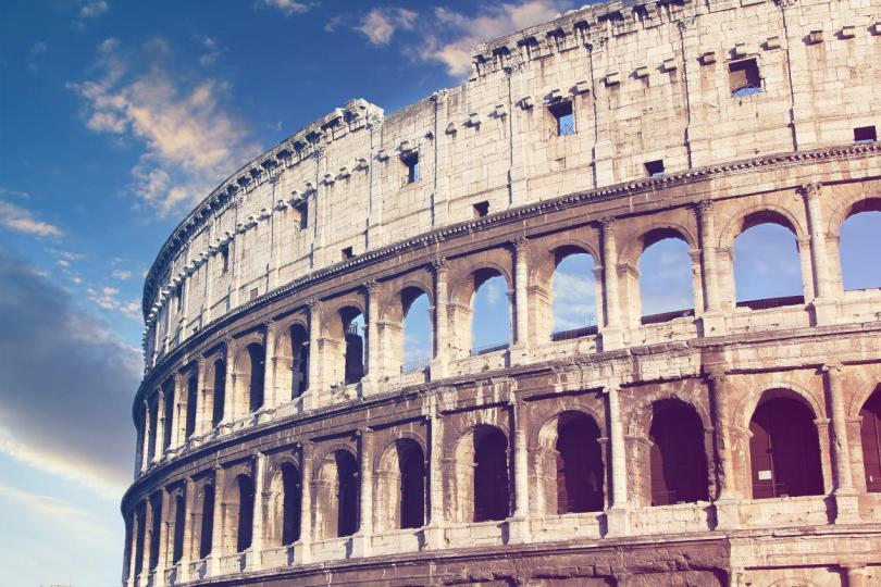 Colosseum in Rome, Italy at spring sunset . Vintage colored picture . Love and travel concept