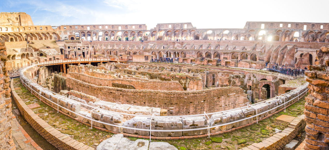 Colosseum interior wide panoramic view