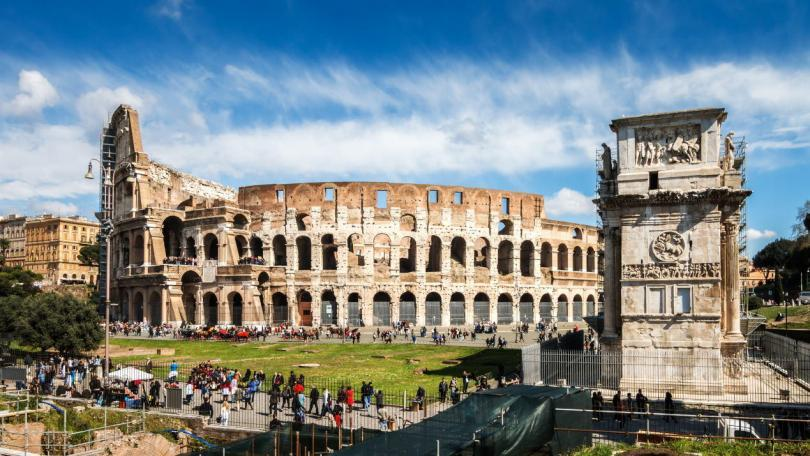 Colosseum of Rome, Italy with Constantine triumphal arch. Panorama Picture