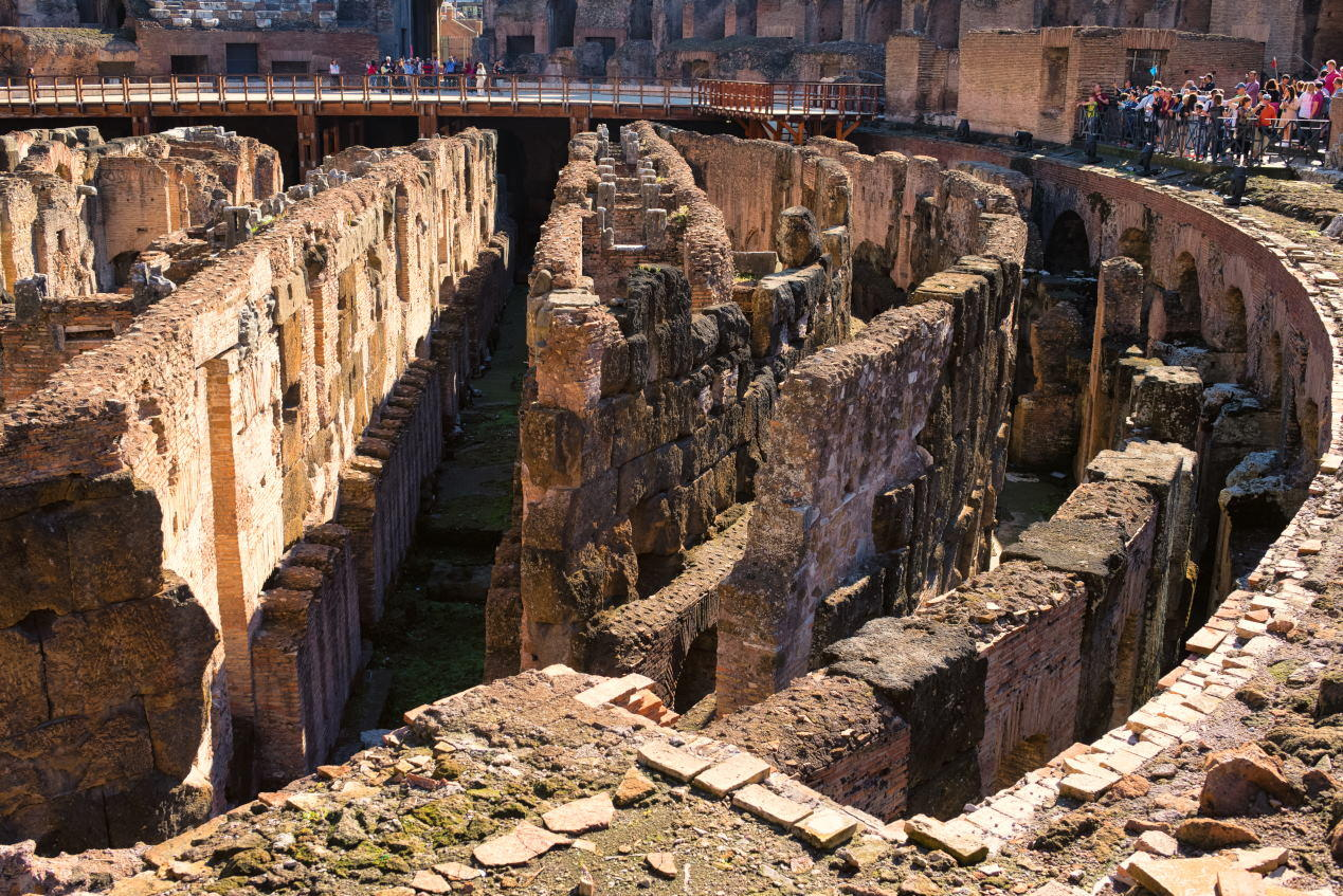 Deep circular galleries of Colosseum, Flavian Amphitheater