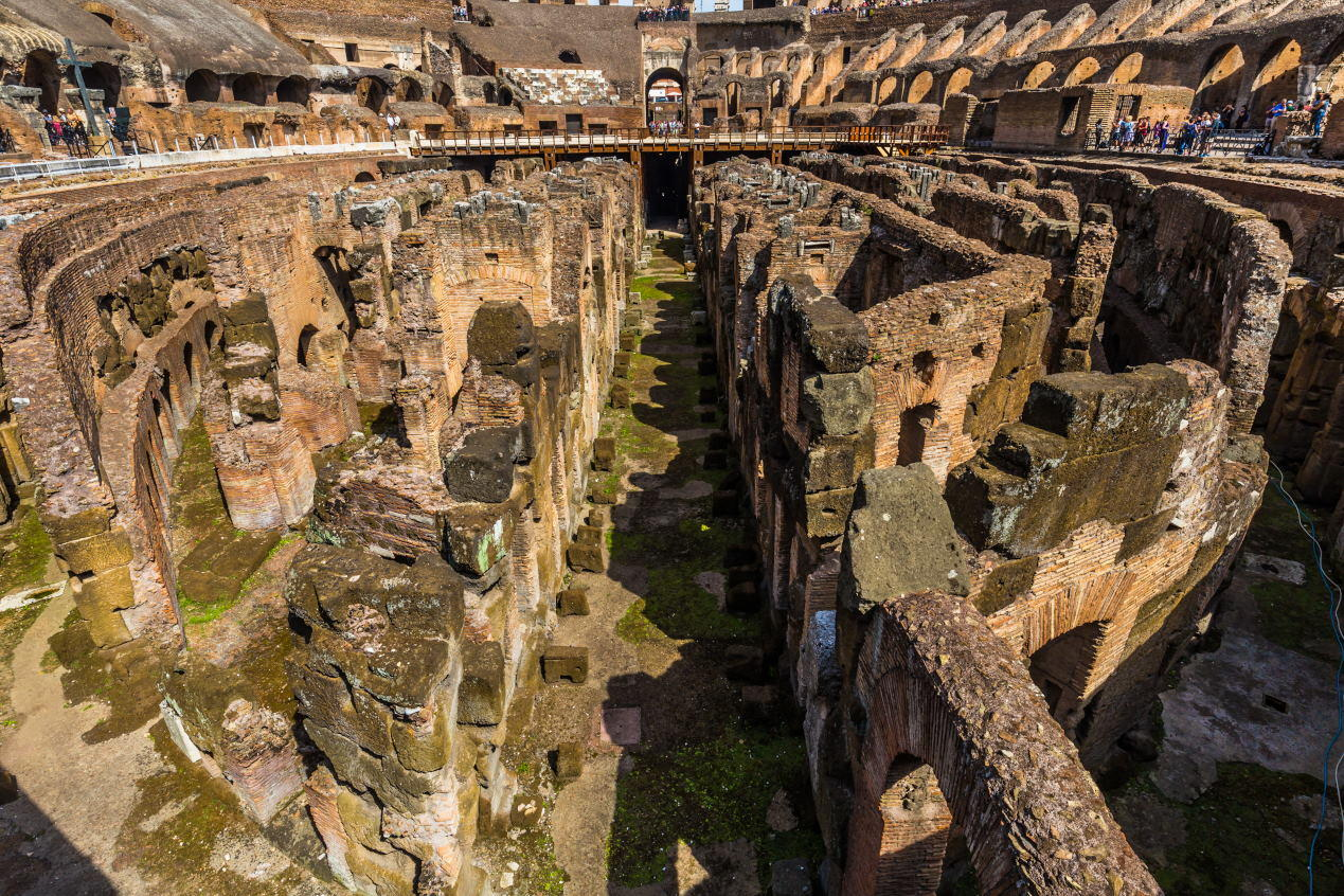 Detail of the underground level of the Colosseum,