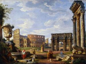 Giovanni Paolo Panini - Capriccio of Roman monuments with the Colosseum and Arch of Constantine