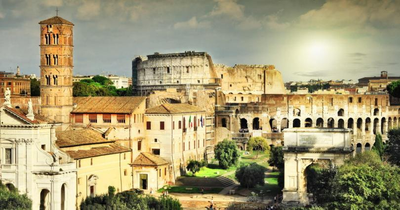 Great Rome, view of Colosseum and Forums