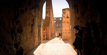 Indoor view of the Colosseum in Rome.