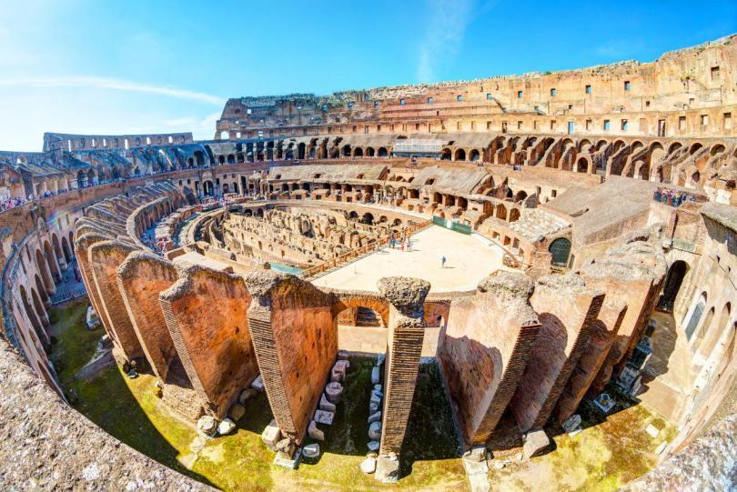 Aerial panoramic view of Colosseum
