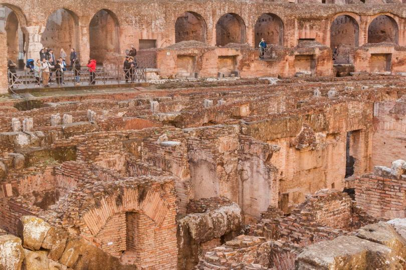 Inside the Colosseum ( Coliseum, Colosseo ,also known as the Flavian Amphitheatre )-