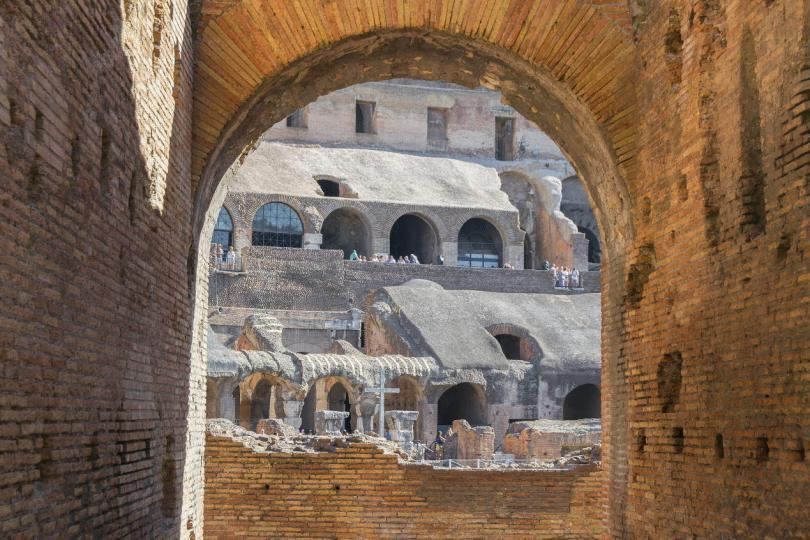 Inside view of the famous Colosseum in Rome, Italy