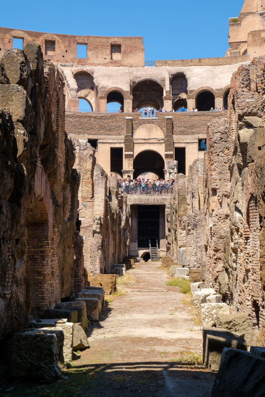 Interior of the ruins of the Colosseum in central Rome