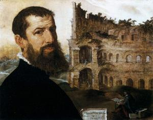 Maarten van Heemskerck: Self-portrait with the Colosseum