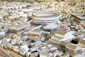 Model of Ancient Rome the Colosseum with on the left the Temple of Venus and Rome and the Basilica of Maxentius._Modified
